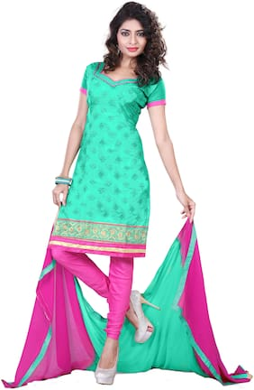 Jheenu Women Embroidered Unstitched Dress Material (SHB12;C-Green)