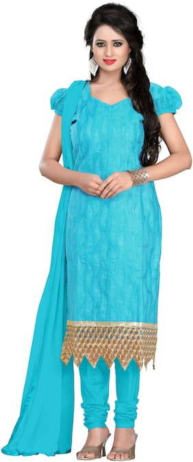 Jheenu Women's Chanderi Straight Unstitched Salwar Suit Dress Material(AYANA04;Turquoise)
