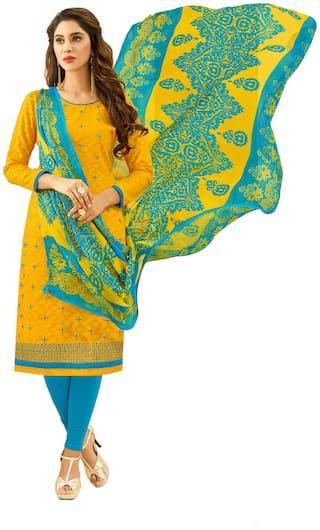 JHEENU Women Cotton Embroidery Kurta; Bottom & Dupatta Yellow;Turquoise