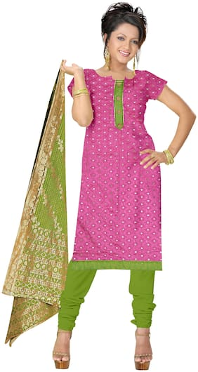 Jheenu Women'S Pink And Green Cotton Unstitched Dress Materials