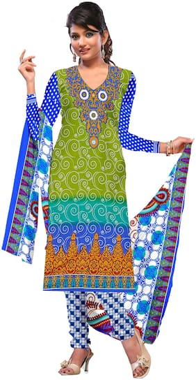 Jheenu Women's printed crape silk unstitched dress materials salwar suit(ANUSK2001;GREEN)