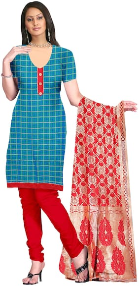 Jheenu Women'S Turquoise And Red Cotton Unstitched Dress Materials