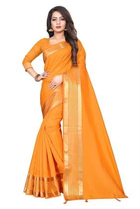 JHEENU Yellow Solid Banarasi Designer Saree With Blouse , With blouse