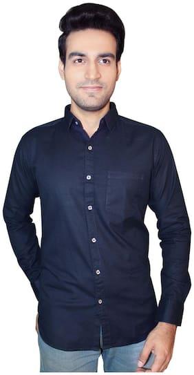 JigarZee Fresh Fashion Casual Slim Fit  Shirt-Navy Blue