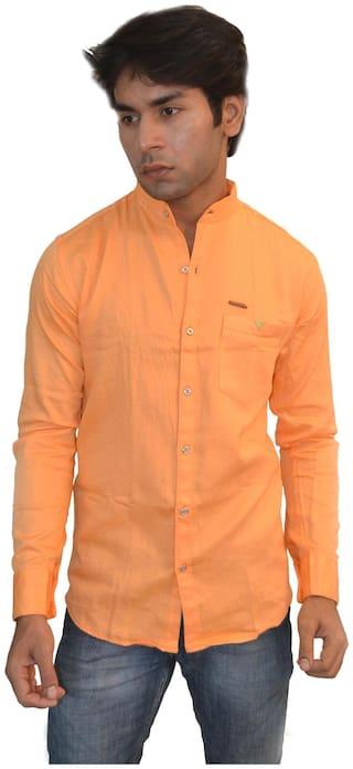 JIGAR ZEE Men Orange Solid Slim Fit Casual Shirt