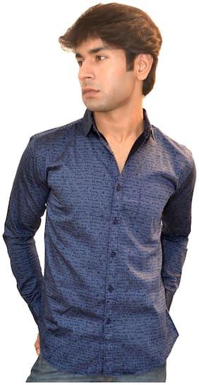 JIGAR ZEE Men Blue Printed Slim Fit Casual Shirt