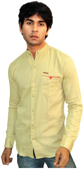 JIGAR ZEE Men Yellow Solid Slim Fit Casual Shirt