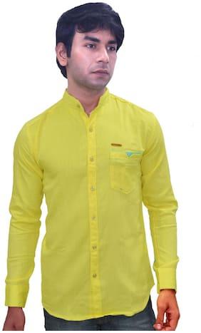 JIGAR ZEE Men Yellow Solid Slim Fit Casual Shirt
