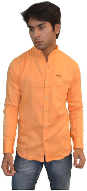 JIGAR ZEE Men Slim fit Casual shirt - Orange