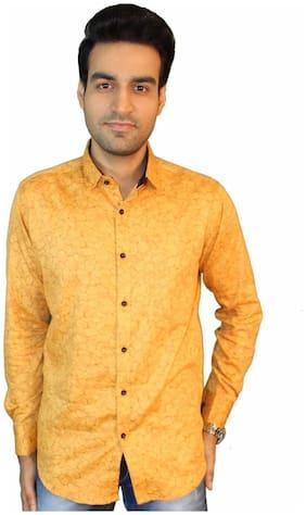 JIGAR ZEE Men Yellow Printed Slim Fit Casual Shirt