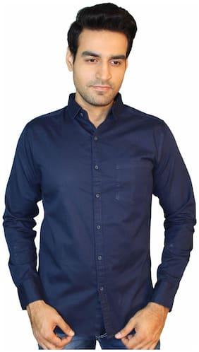 JIGAR ZEE Men Blue Solid Slim Fit Casual Shirt