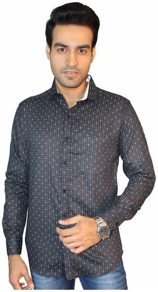 JIGAR ZEE Men Black Printed Slim Fit Casual Shirt