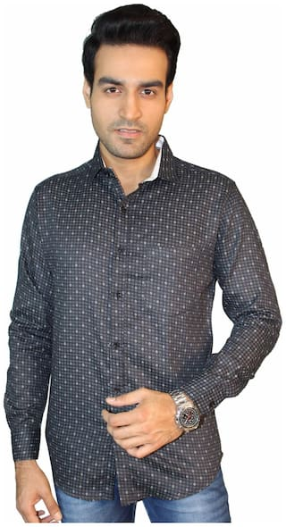 JIGAR ZEE Men Black Printed Slim Fit Casual Shirt