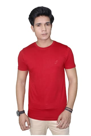 eb3d2d0f Buy JigarZee Red Regular Fit T-Shirt For Men | 100% Cotton | Round ...