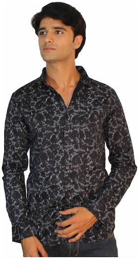 JigarZee Smart Casual Slim Shirt-Black