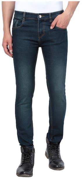 JINJLR Men Solid Mid Rise Washed Denim Jeans - Green