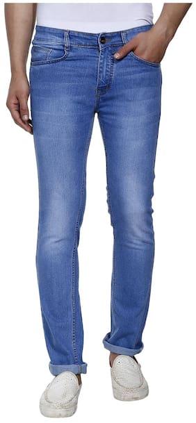 Jinjlr Solid Regular Fit Washed Denim Jeans - Light Blue;Size30