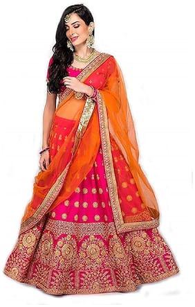 JINNAR Women's Embroidered Taffeta Satin Semi-Stitched Lehenga Choli (Pink.Orange,Free Size)