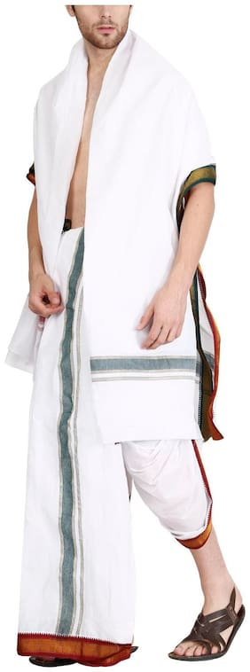 JISB 9X5 Panjagajam white dhoti for men,mayilkan