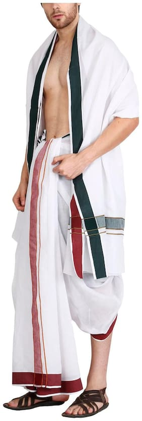 JISB 9X5 Panjagajam white dhoti for men,thick border