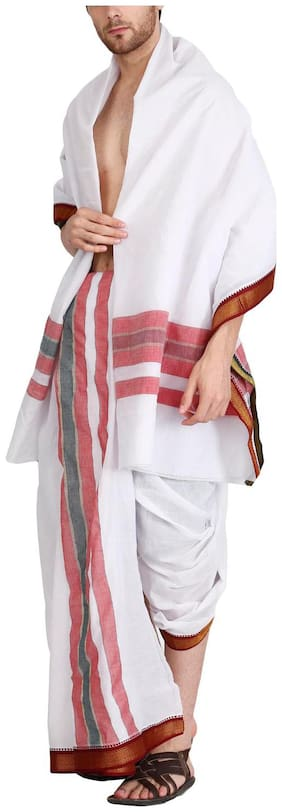 JISB 9X5 Panjagajam white dhoti for men,kanchimunthi