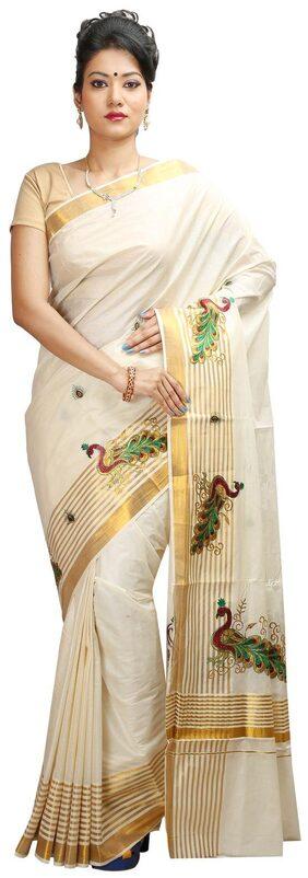 JISB Kerala Kasavu Saree With Peacock Embroidery Border