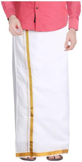 JISB Cotton Solid Mundu Dhoti - White