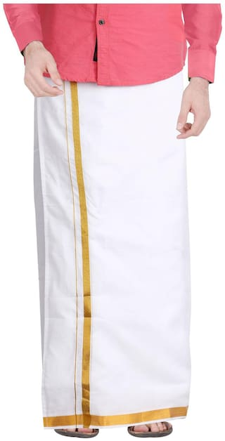 JISB Cotton Solid Mundu Dhoti - White