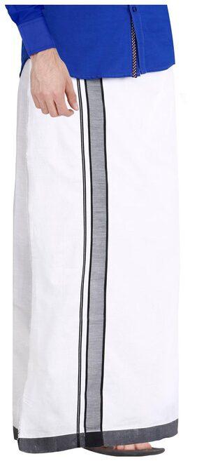 JISB White Dhoti 2 m, cotton with Black border