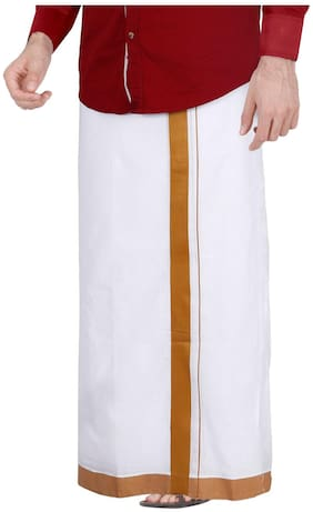 JISB White Dhoti 3.6 m, cotton with Brown border