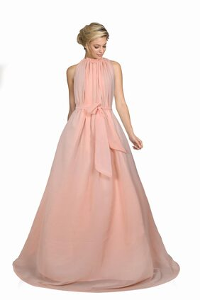 Jiva Women's Exclusive Designer Peach Colour Georgette Stitched Gown