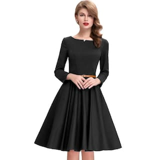 Designer Color Solid Jiva Western Dress Satin Women's Black Bollywood qaTwCSX
