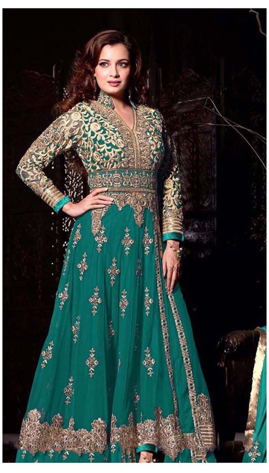 d8f0380e4 https   assetscdn1.paytm.com images catalog product . Jiya Net Printed Dress  Material - Green