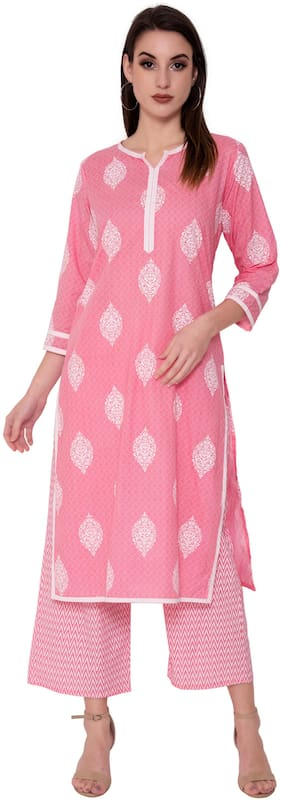 JNY SALES Women Pink Printed Regular Kurta With Palazzo