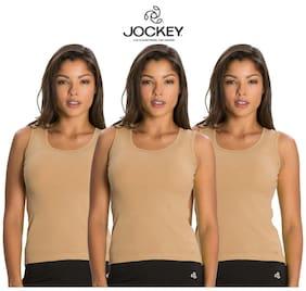 Jockey Beige Cotton Pack of 3 Spaghetti Top