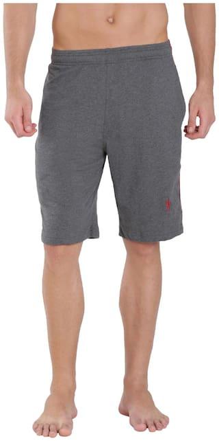 Jockey Charcoal Melange & Shanghai Red Knit Sport Shorts - Style Number : 9426