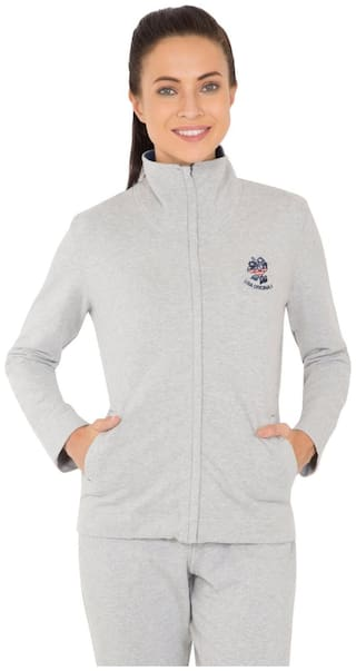 Jockey Women Solid Sweatshirt - Grey
