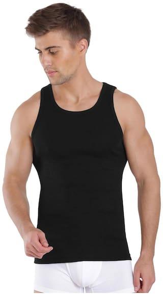Jockey Sleeveless Round Neck Men Vest - Black