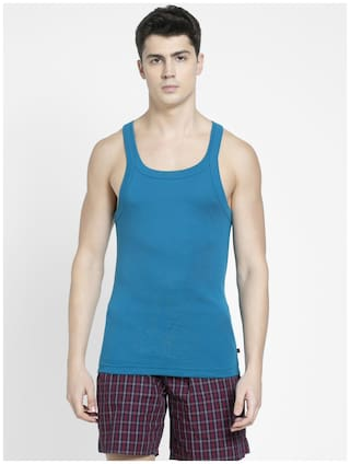 Jockey Sleeveless Square Neck Men Gym Vest - Blue