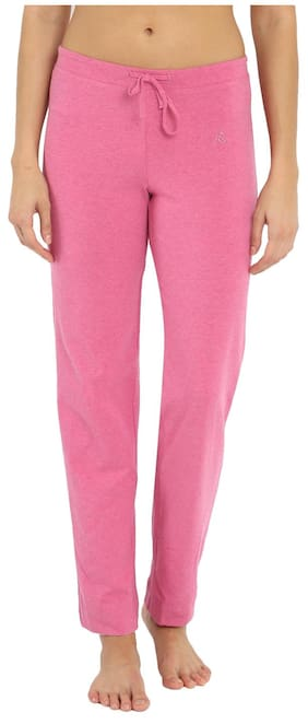 Jockey Women Regular Fit Cotton Solid Track Pants - Pink