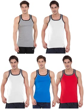 Jockey Power Fashion Cotton Sleeveless Rib Racer Back Assorted All Purpose Vest - Pack of 5