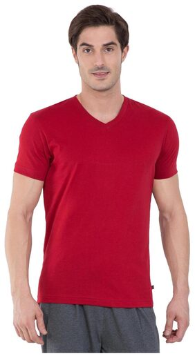 Jockey Men V Neck Sports T-Shirt - Red