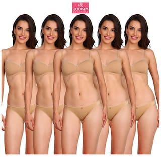Jockey Women Cotton Solid Bikini - Beige