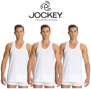 Jockey 3 Sleeveless Round Neck Men Vest - White