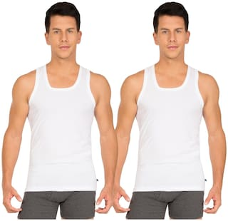 Jockey 2 Sleeveless Square Neck Men Vest - White