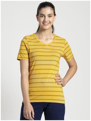 Jockey Women Yellow Regular fit V neck Cotton T shirt