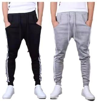 JOGGERS PARK Men Cotton Track Pants - Black & Grey