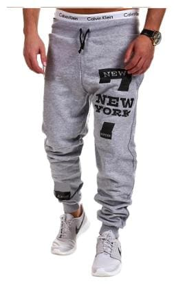 Joggers Park Mens Grey Placement Print Relaxed Fit Trackpant