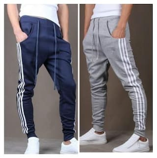 Joggers Park Men's Navy Blue and Grey Cotton Blend Trackpants Combo OF 2
