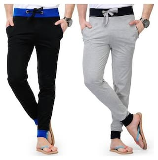 Joggers Park Men's Black and Grey Cotton Blend Trackpants Combo Of 2